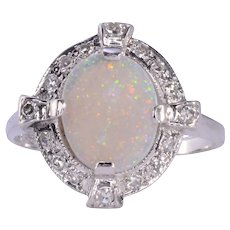 Opal & Diamond White Gold Ring