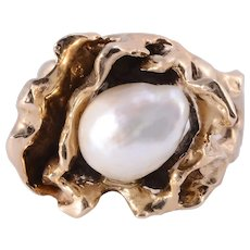 GIA Certified Semi Baroque Pearl Free Form Ring - Size 9.5