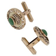 Cufflinks with Green Oval Nephrite