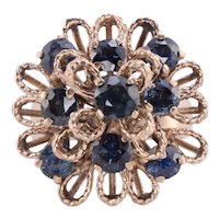Sapphire Cluster 18K Gold Ring