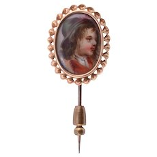 Hand Painted Portrait Stick Pin