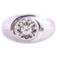 Mens Diamond White Gold Ring - Size 11.25