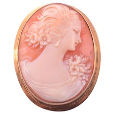 Gold Frame Shell Cameo Pin