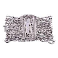 Egyptian Motif Silver Beaded Bracelet