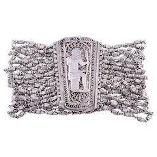 Egyptian Motif Silver Beaded Bracelet