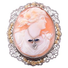 Sapphire and Diamond Shell Cameo Brooch