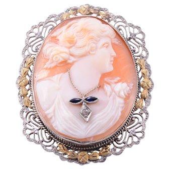 Sapphire and Diamond Shell Cameo Brooch