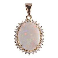 3.95 Carat Opal & Diamond Pendant
