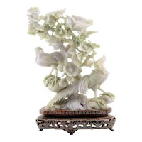 Jade Carving of Birds and Flowering Branches
