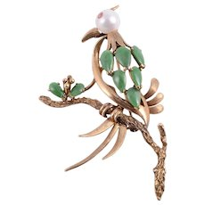 Floral Jade, Pearl & Pink Sapphire Pin