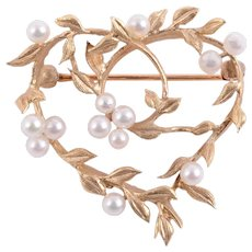 Foliate Heart Pearl Pin