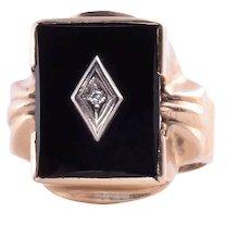 Art Deco Jet & Diamond Mens Ring