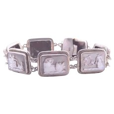 Silver and Mother of Pearl Link Bracelet