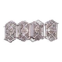 Art Nouveau Silver Filigree Bracelet
