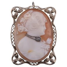 Shell Cameo Pin or Pendant of Woman with Diamond Necklace