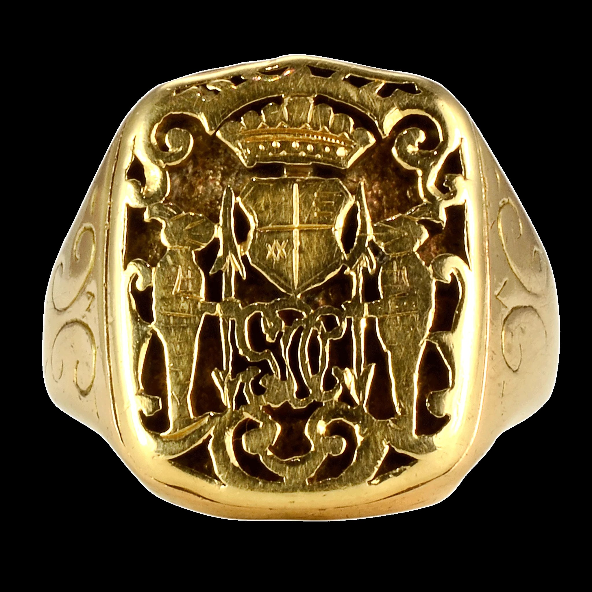 ring seal coat surface crest engraved signet x arms img yellow products rings family of gold carat