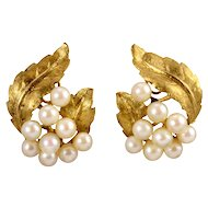 Cultured Saltwater Pearl Leaf Clip Earrings