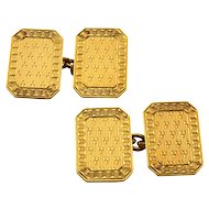 18 Karat Gold Engraved Rectangular Cuff Links