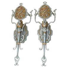 Gothic Style Pair of Aluminum Wall Sconces