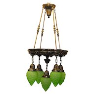 Cast Brass Five Light Chandelier with Green Molded Glass
