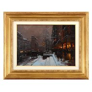 French Oil on Canvas Porte Saint-Denis, Winter by Édouard Leon Cortès