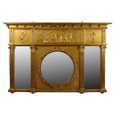 Carved Gilt Wood Overmantel Mirror