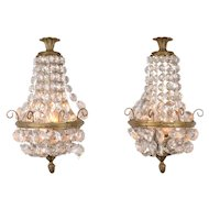 Pair of Crystal and Brass Electrified Wall Sconces