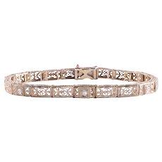 Diamond Filigree Link Bracelet