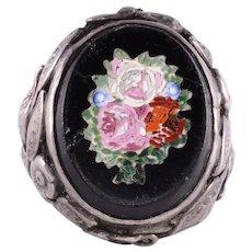 Onyx Rose Mosaic Ring