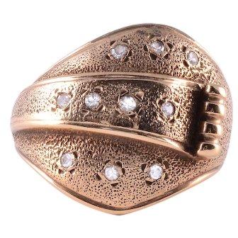 Diamond Rose Gold Buckle Ring