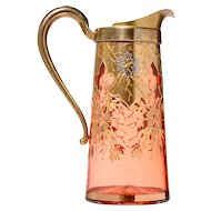 Gilt Overlay Cranberry Glass Pitcher