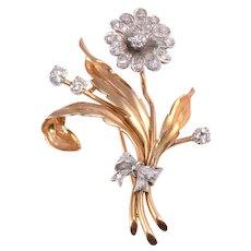 Victorian Diamond Floral Pin
