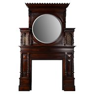 Renaissance Revival Carved Walnut Fireplace Mantel and Mirror