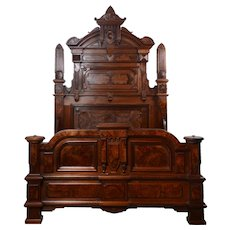 Renaissance Revival Carved Burl Walnut Full Size Bed