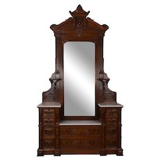 Renaissance Revival Carved Burl Walnut Mirrored Dresser