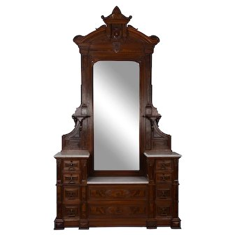 Renaissance Revival Carved Burl Walnut Mirrored Dresser