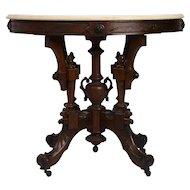 Renaissance Revival White Marble Top Side Table