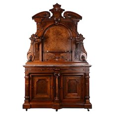 Renaissance Revival Carved Burl Walnut Marble Top Sideboard