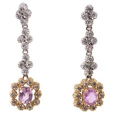 Effy Pink Sapphire Diamond Dangle Earrings