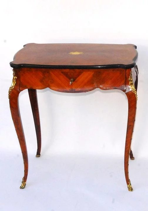 French Inlaid Dressing Table With Flip Up Mirror Solvang