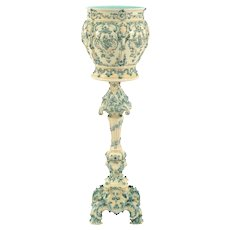 Austrian Majolica Jardiniere and Matching Stand