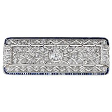 Platinum Art Deco 4.46 CTW Diamond and Sapphire Brooch