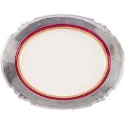 Royal Worcester Sterling Silver Rimmed Porcelain Platter