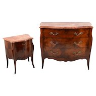 Antique French Kingwood Nightstand and Dresser with Hidden Desk