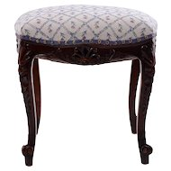 French Carved Walnut Boudoir Stool