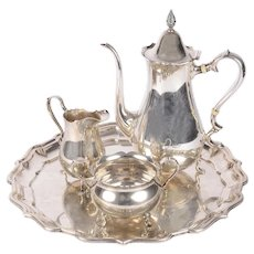 Three Piece Sterling Silver Tea Set on Silver Plated Tray