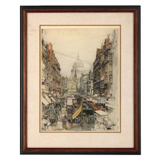 Lithograph Depicting London Street Scene