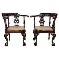 Pair of Carved Mahogany Chippendale Chairs
