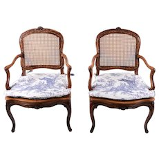 American Pair of Walnut Louis XV Style Arm Chairs