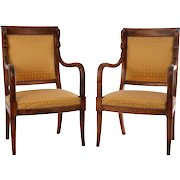 American Pair of Walnut Carved Armchairs